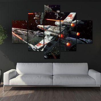 Canvas Painting Photo Prints 5 Panels Star Wars Outer Space Wall Decorations Office Artwork Giclee Paintings Home Decor no frame