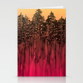 FOREST THROUGH THE TREES 12 Hot Pink Magenta Orange Black Landscape Ombre Abstract Painting Outdoors Stationery Cards by EbiEmporium