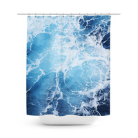 Blue Ocean Surf - Shower Curtain, Deep Blue Seascape, Bath Decor, Coastal Nautical Style Home Vanity Bathroom Hanging Tub Curtain. In 71x74