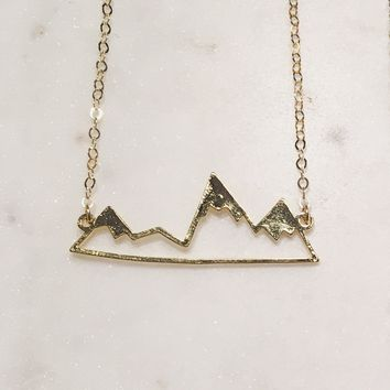 Gold Rustic Mountain Range Necklace