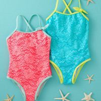 Neon Lace One-Piece Swimsuit by Floatimini - Baby Girls & Girls