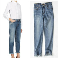 Jeans Wide Leg Slim Pen Cropped Pants [10384194444]