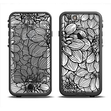 The White and Black Flower Illustration Apple iPhone 6 LifeProof Fre Case Skin Set