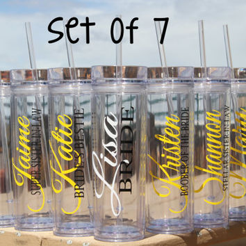 Set of  7  - Personalized Bride, Bridesmaid, Junior Bridesmaid, Flower Girl and Maid of Honor Acrylic Tumblers, Bridesmaid Gifts