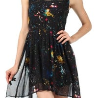 Sleeveless Sheer Cosmic Print Dress with Pleating and Hi-Lo Hem