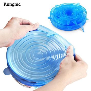 6pcs Universal Silicone Stretch Suction cup lid Kitchen silicone splatter coverCooking Pan Spill Lids Home Bowl Stopper CoverP35