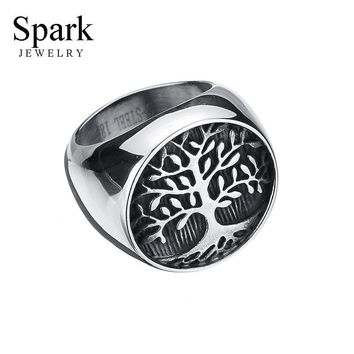 SPARK Jewelry Vintage Punk Tree of Life Signet Solid Stainless Steel Ring Biker Ring High Polished Never Fade Men Jewelry