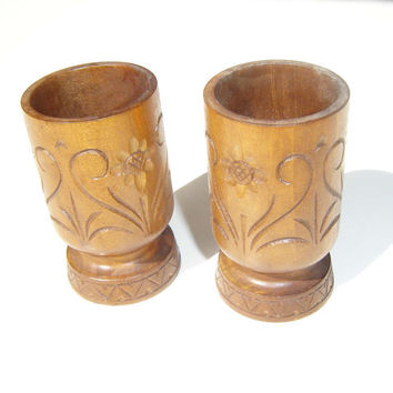 Vintage hand-carved wooden set of two cups, Wooden office box, hand-carved box for  pens and pencils, wooden chic, home decor