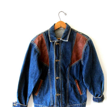 Vintage DENIM and LEATHER Accented Patched Jean Jacket Kids Sz L (14-16) or Wms Sz S