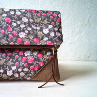 Vegan Clutch, handbag,  foldover clutch, floral pattern, pink, fuhcsia and brown, Ready To Ship.