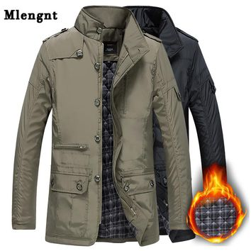Winter Thick Padded Men Jacket Classic Windbreaker Khaki Zipper Warm Outerwear Cotton Parka Varsity Male Long Trench Coat