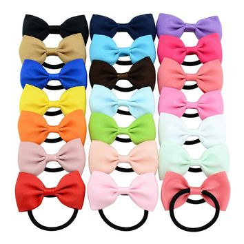 20pcs/Lot Grosgrain Elastic Hair Bow Ties Rope Ring Band Ponytail Holder Flower Headbands Accessories for Baby Toddler Girls Kids Children