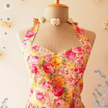 Floral Tea Dress Green with Pink Yellow Floral Dress Vintage Inspired Floral Tea Dress Floral Party Prom Dress Bridesmaid Dress -Size S,M,L