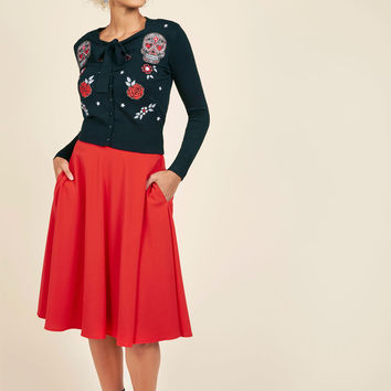 Just This Sway Midi Skirt in Tomato | Mod Retro Vintage Skirts | ModCloth.com