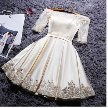 2016 bridal Boat Neck short design party dress champange color prom dress