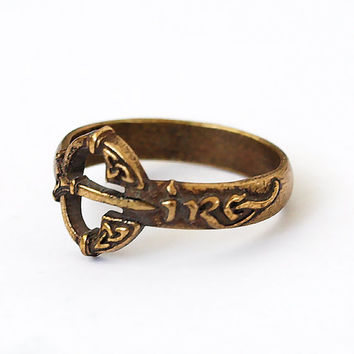 Eire, Eire ring, Eire jewelry, Ireland ring, Ireland jewelry, Belt ring, Brass ring, Rings, Brass jewelry, Ieland rings, Eire rings