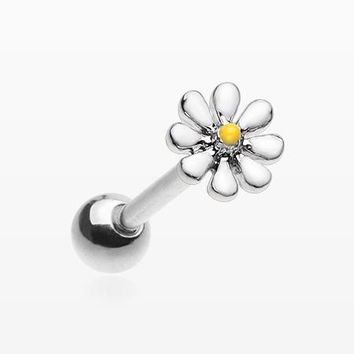 Adorable Daisy Flower Barbell Tongue Ring