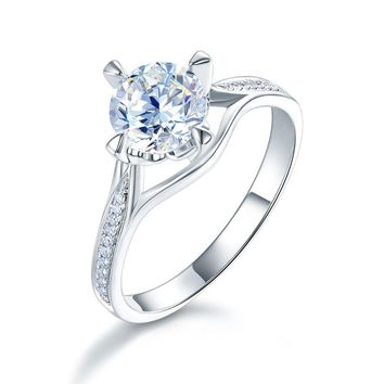 Peacock Star 14K White Gold 4 Claws Wedding Engagement Ring 1 Carat Forever One Moissanite Diamond