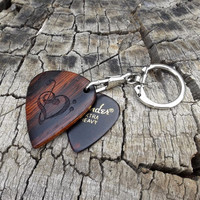 Large Sized Handmade Guitar Pick Shaped Wooden Key Chain - Cocobolo Rosewood