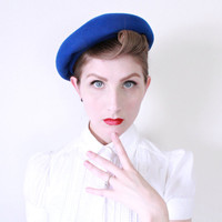 1960s Hat / VINTAGE / Tam / Blue / 60s Hat / Beret / French Style / Azure / Charming / Spring