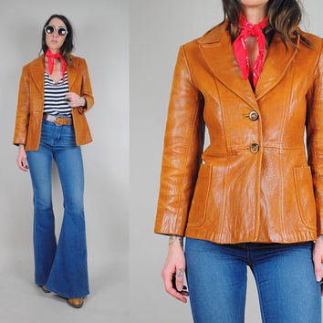 70's cognac pebbled LEATHER jacket