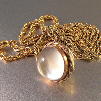 Victorian Pools of Light Locket Pendant, Rock Crystal, 2 Tone Rose Gold Quartz Crystal Orb, Gold Filled Chain Necklace