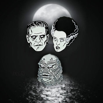 Monster Mash Frankenstein, Bride of Frankenstein and Creature From The Black Lagoon Enamel Lapel Pin Set By VOIDEaD