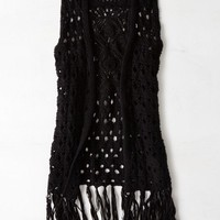 AEO Women's Open Knit Fringe Vest