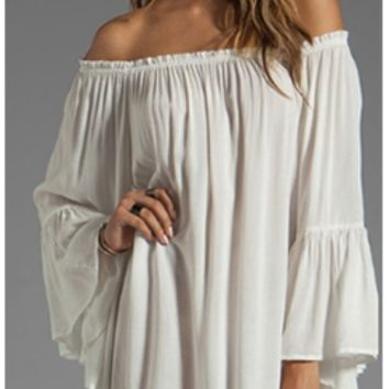 White Long Bell Sleeve Off The Shoulder Loose Chiffon Mini Dress
