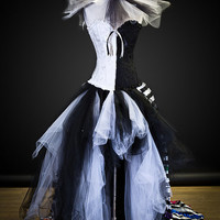 Size Medium Black and White striped satin and tulle Circus Harlequin Burlesque corset prom dress with neck piece