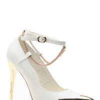 Chained Gold Bullet White Pointed Heels - Default
