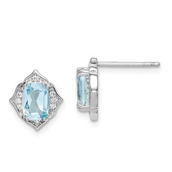 Sterling Silver Sky Blue Topaz And White CZ Post Dangle Earrings