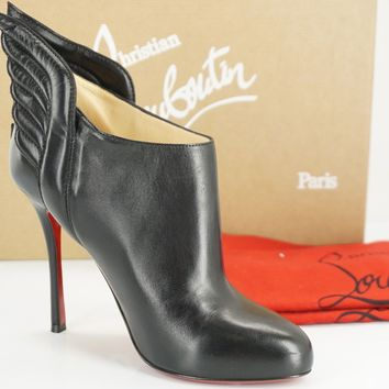 Christian Louboutin Black Leather Mecura Winged Heels Booties Pumps Size 37 NIB