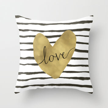 Love gold foil heart Throw Pillow by Retro Love Photography