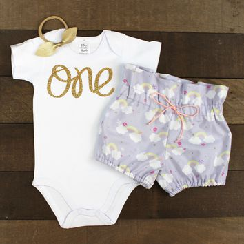 "Gold ""One"" Girls 1st Birthday Outfit 