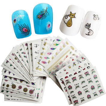 STZ 50sheets NEW 3D Glitter Bling Feather Flower Nail Stickers Nail Art Decoration Cute Cat Manicure Decals Mixed Designs NC178