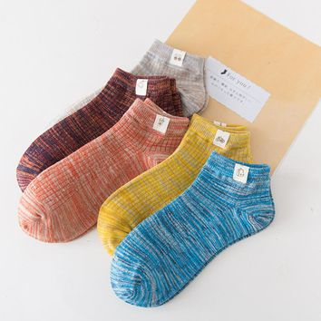 PEONFLY 5 pais/lot Vertical stripe Colors Chic men Fiber Liner Socks Invisible Non-slip Boat Slippers Plain Footies