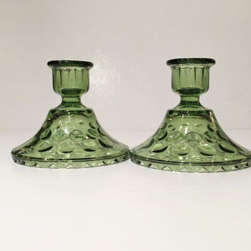 Hazel Atlas Green Depression Glass Candlestick Holders,Eldorado Pattern, Depression Glass Green Candle Holder Set of 2
