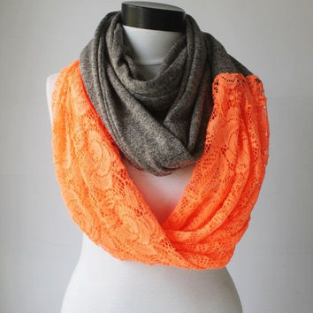 grey-neon lace scarf,infinity scarf, scarf, scarves, long scarf, loop scarf, gift
