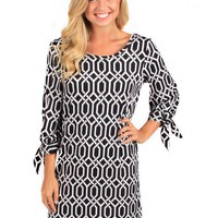 Moonlight Mile Black And Pearl Lattice Shift Dress | Monday Dress Boutique