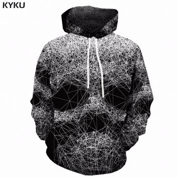 KYKU Skull Hoodie Men Black And White 3d Print Hoodies Hip Hop Spider Web geometric Anime Sweatshirt Hooded Gothic Mens Clothing