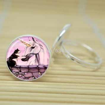 Cat and Unicorn Ring Featuring Glass Cabochon with Silver or Antique Bronze Color Adjustable Size