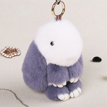 Cute Mini Rabbit Toy Doll Real Fur Monster Keychains 100% Real Genuine Rex Rabbit Furs Keychain Pendant Bag Car Charm Tag