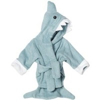 "Baby Aspen ""Let The Fin Begin"" Terry Shark Robe, Blue, 0-6 Months"