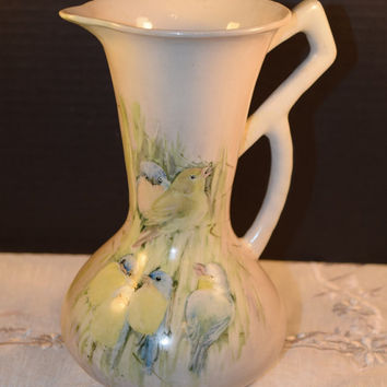 Hand Painted Bird Pitcher Geometric Handle Vintage Love Birds Bamboo Design Tall Ceramic Pitcher Water Jug Bird Collectors