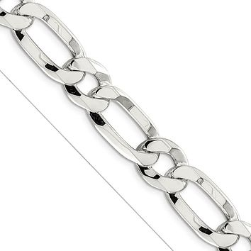 Men's 12.25mm Sterling Silver Open Modified Figaro Chain Necklace