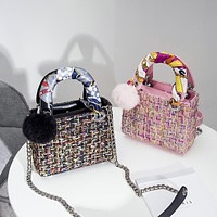 Women Temperament Fashion Multicolor Weave Worsted Mini Handbag Single Shoulder Messenger Bag