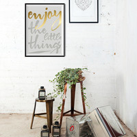 Scandinavian Interior Design / Enjoy The Little Things / Minimalist Motivational Poster with Gold Foil Print