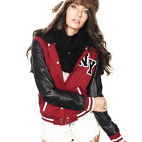 Hooded Varsity Jacket | Wet Seal