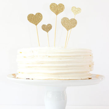 Gold Glitter Heart Cake Topper Girls Birthday Party Wedding Cake Decorations Gold Glitter Party Supplies Engagement Bachelorette Party